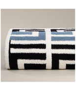 Kashwere Grecian Throw Blanket Aegean Blue, Black and Cream - $165.00