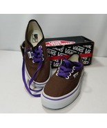 VANS AUTHENTIC CUSTOM KIDS SHOES UNISEX BROWN PURPLE BOYS/GIRLS YOUTH 3.... - $24.49