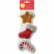 Wilton Christmas Stocking Star Candy Cane Metal Cookie Cutter 3 Pc Set - $5.74 CAD