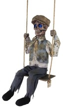 An item in the Collectibles category: Halloween Animated CREEPY SWINGING SKELETAL BOY Prop Haunted House NEW