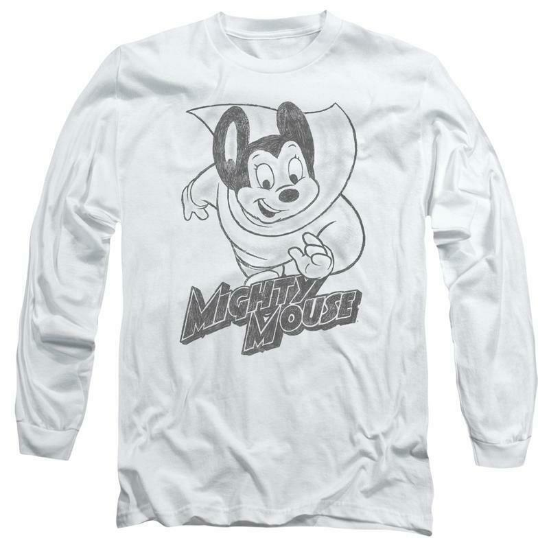Mighty Mouse superhero Retro Saturday cartoon classics long sleeve tee CBS1136