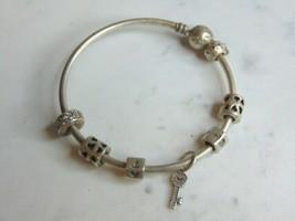 Womens Vintage Estate Sterling Silver Pandora Charm Bracelet 22.3g E5269 - $120.00