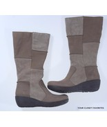 b.o.c Nix Patchwork Suede Leather Boots size 6.5 Mid Calf Wedge Tan - $49.95