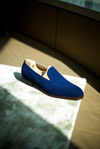 Handmade Men's Blue Slip Ons Loafer Suede Shoes image 4