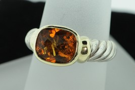 DAVID YURMAN Sterling Silver and 14K Yellow Gold Cable Citrine Ring (Size 7) - $290.00