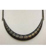 """Necklace Bib Diamond Egyptian Revival Copper Finish Metal 19"""" American E... - $10.34"""