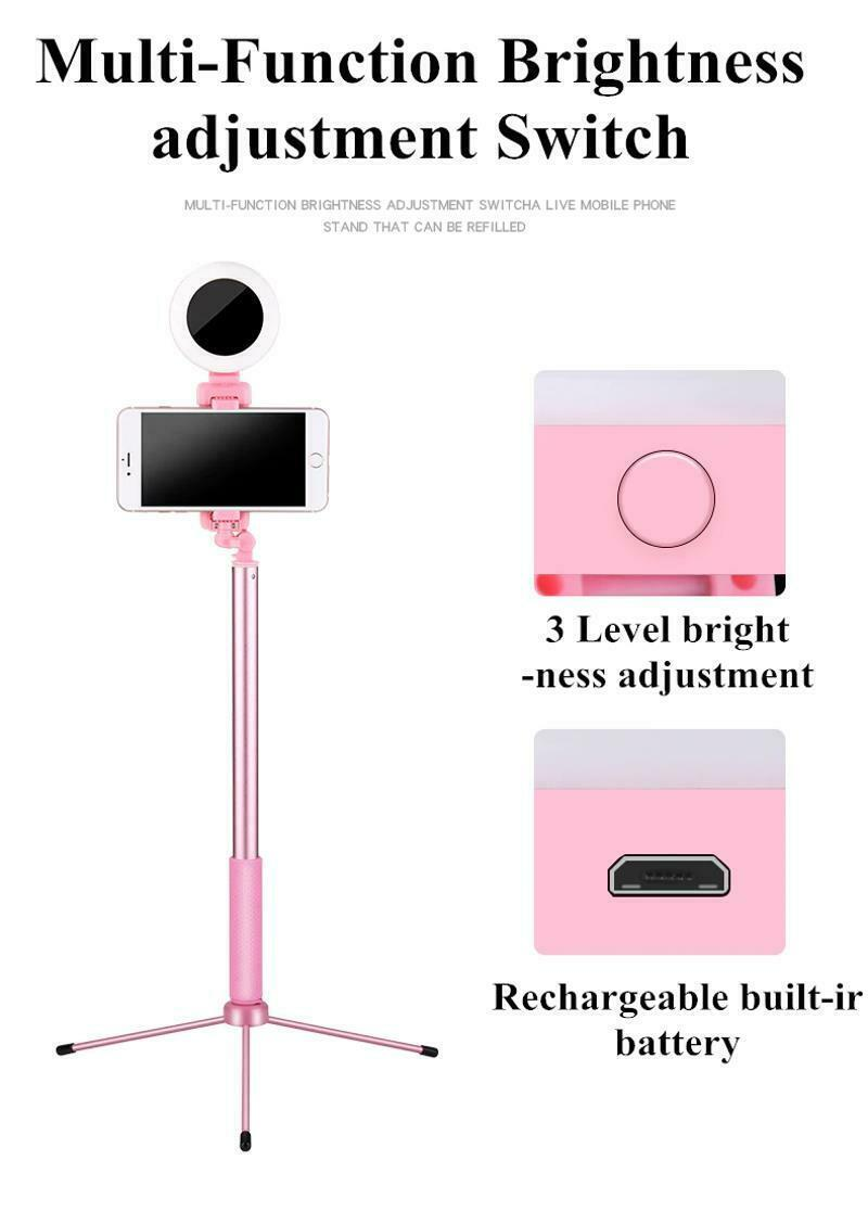 Selfie Stick LED Ring Light Stand 1.7M Extendable Monopod Universal Phones Mount image 11
