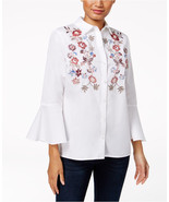 Charter Club Cotton Embroidered Bell-Sleeve in Bright White, size 12 - $36.62