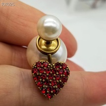 Authentic Christian Dior 2019 CRYSTAL HEART DIOR TRIBALES PEARL SINGLE EARRING image 11