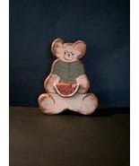 Vintage wood bear with watermelon slice, distressed - $13.00