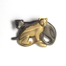 Vintage Liz Claiborne Cat Brooch Pin Gold Tone Gray Shiny Signed LC - $9.85