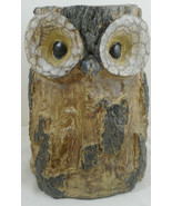 "Owl Tree Stump Jar Container Vase Resin Log Trunk 8"" - $30.68"