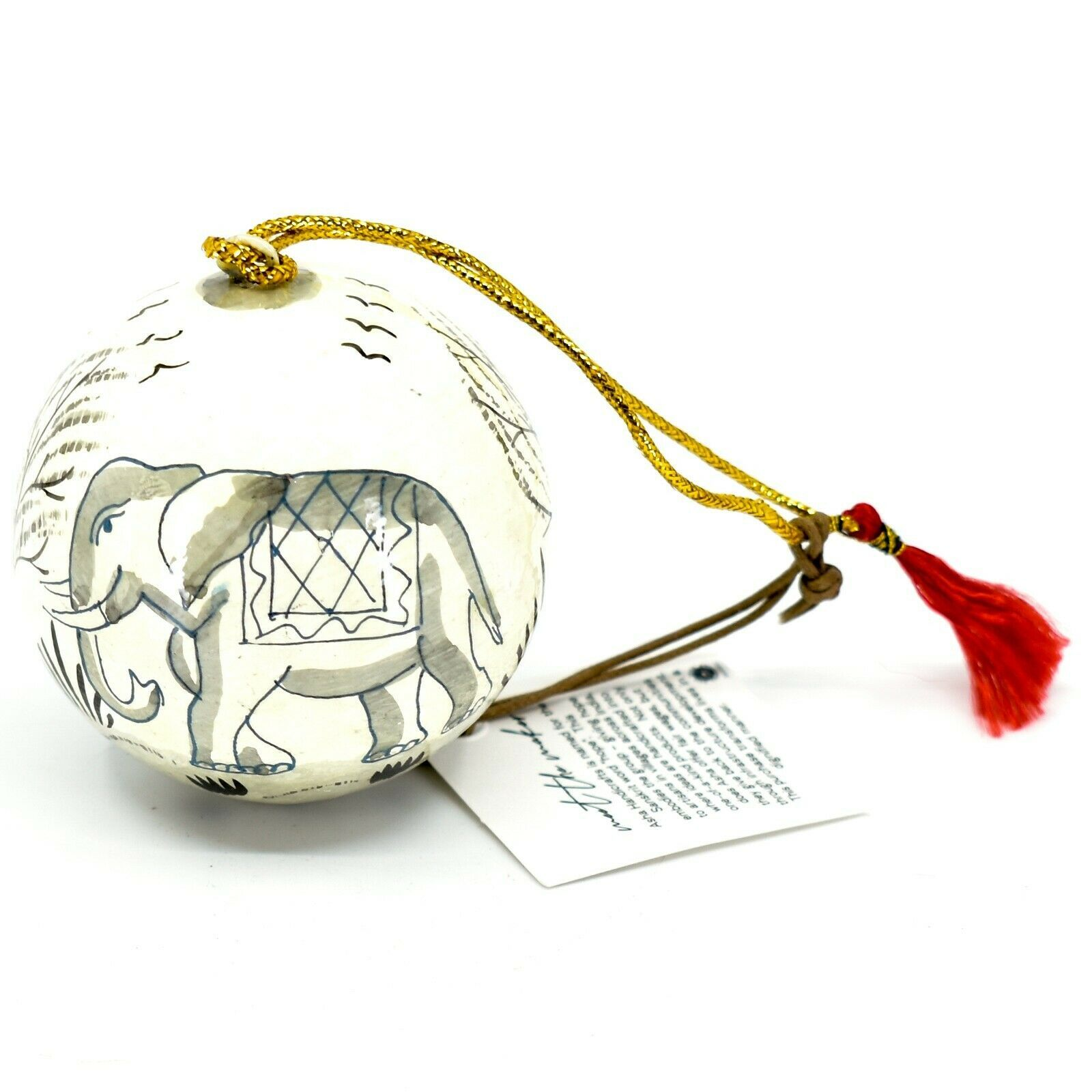 Asha Handicrafts Painted Papier-Mâché Grey Elephant Holiday Christmas Ornament