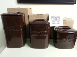 Longaberger Canister Set of 3 Chocolate Brown Pottery New - $128.65