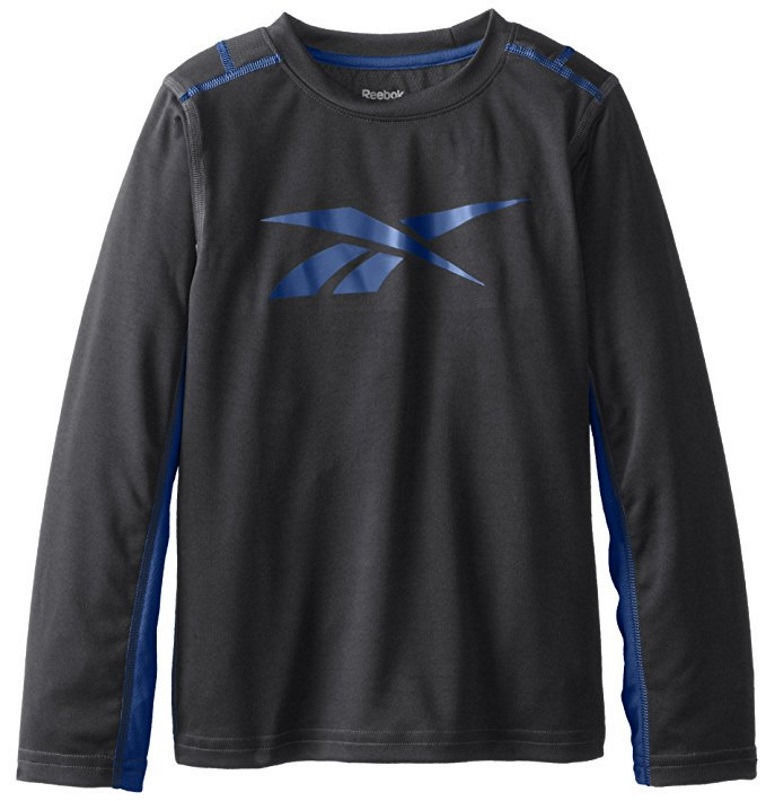 Little Boy's Medium (5) Long Sleeve Shirt Reebok PlayDry Metallic Tech Top Black