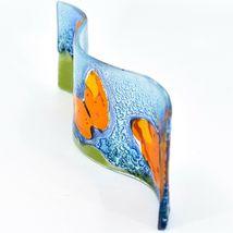Fused Art Glass Red Orange Butterflies Wavy Sun Catcher Handmade Ecuador image 4