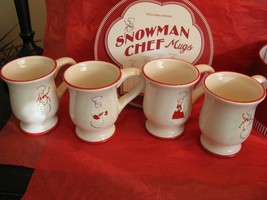 Williams Sonoma Snowman Chef Mugs Ceramic Set of 4 In Round Gift Box w/ ... - $43.95