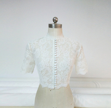 Empire Style Long Sleeve Lace Crop Top Button Down Wedding Lace Crop Top Shirts image 7