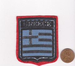 Vtg GREECE Patch-Travel Souvenir Vacation-Red Felt-Europe-Shield-Crest-Flag - $9.49