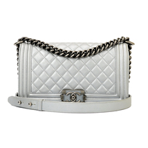 AUTHENTIC CHANEL SILVER QUILTED CALFSKIN MEDIUM BOY FLAP BAG RHW