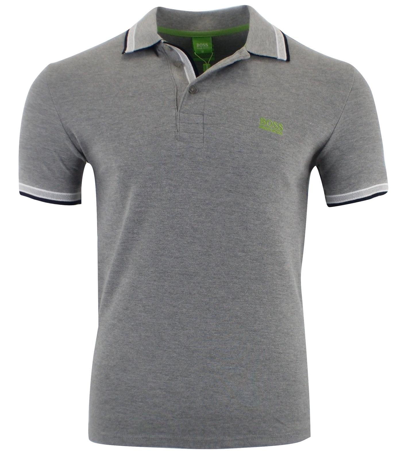 Hugo Boss Men's Short Sleeve Modern Fit 100% Cotton Polo Shirt GRAY S M L XL XXL for sale  USA