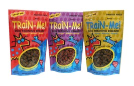 Dog Training Treat Sampler 3 Pack Train Me Bacon Chicken Beef Flavors 16... - €53,06 EUR
