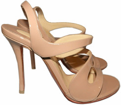Christian Louboutin Vavazou Slingback Sandals Shoes Nude Beige Pumps 38 - $499.97