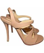 Christian Louboutin Vavazou Slingback Sandals Shoes Nude Beige Pumps 38 - $499.97