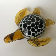 "Turtle Glass Paperweight Amber Black White Spotted Shell 6.5"" Tortoise V... - $23.86 CAD"