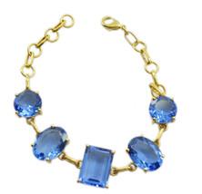 grand Blue Shappire CZ Gold Plated Blue Bracelet genuine jaipur US gift - $23.50