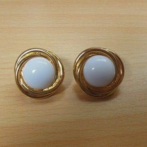Signed Crown Trifari Gold Tone White Cabochon Pierced Earrings - $14.84