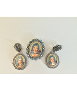 Ladies Antique Estate 3 pc Silver Filigree Portrait Frame Earrings Brooc... - $495.50