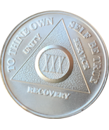 30 Year .999 Fine Silver AA Alcoholics Anonymous Medallion Chip Coin XXX - $47.99