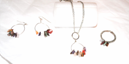 Mixed Gemstone Chip Necklace, Earring and Ring Set - $25.00