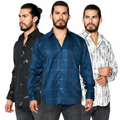 LW Men's Nightlife Club Shiny Metallic Abstract Woven Long Sleeve Dress Shirt