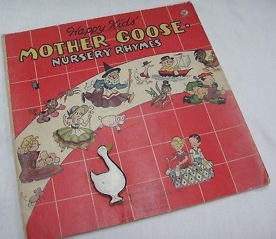 Vintage Happy Kids Mother Goose Nursery Rhymes # 900 Burton Playthings 1934 Book