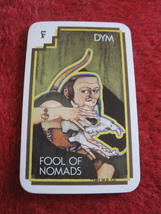 1981 DragonMaster Board game playing card: Dym, Fool of Nomads - $1.00