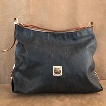 Dooney & Bourke Gretta Coated Canvas Leather Hobo black denim large bag solid - $74.00