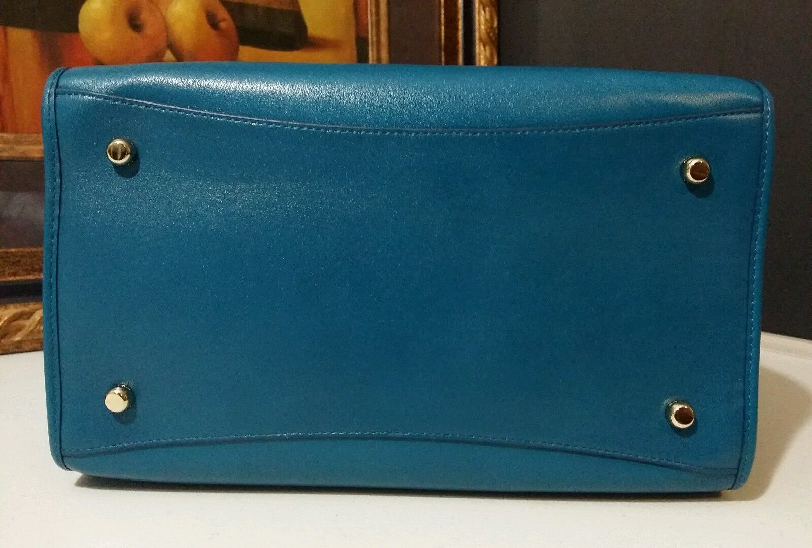 NWT COACH Smooth Leather Crosby Carryall 33545 LITEA Light Gold/Teal MSRP $398