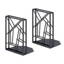 SRIWATANA Bookends Black, Decorative Metal Book Ends for Heavy Books Non... - $20.46