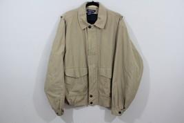 Vintage 90s Nautica Mens Large Spell Out Bomber Jacket Coat Khaki  Polyester - $30.64