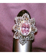 Pink Ice & Marcasite lace work  silver ring size 6.5 Vintage - $65.00