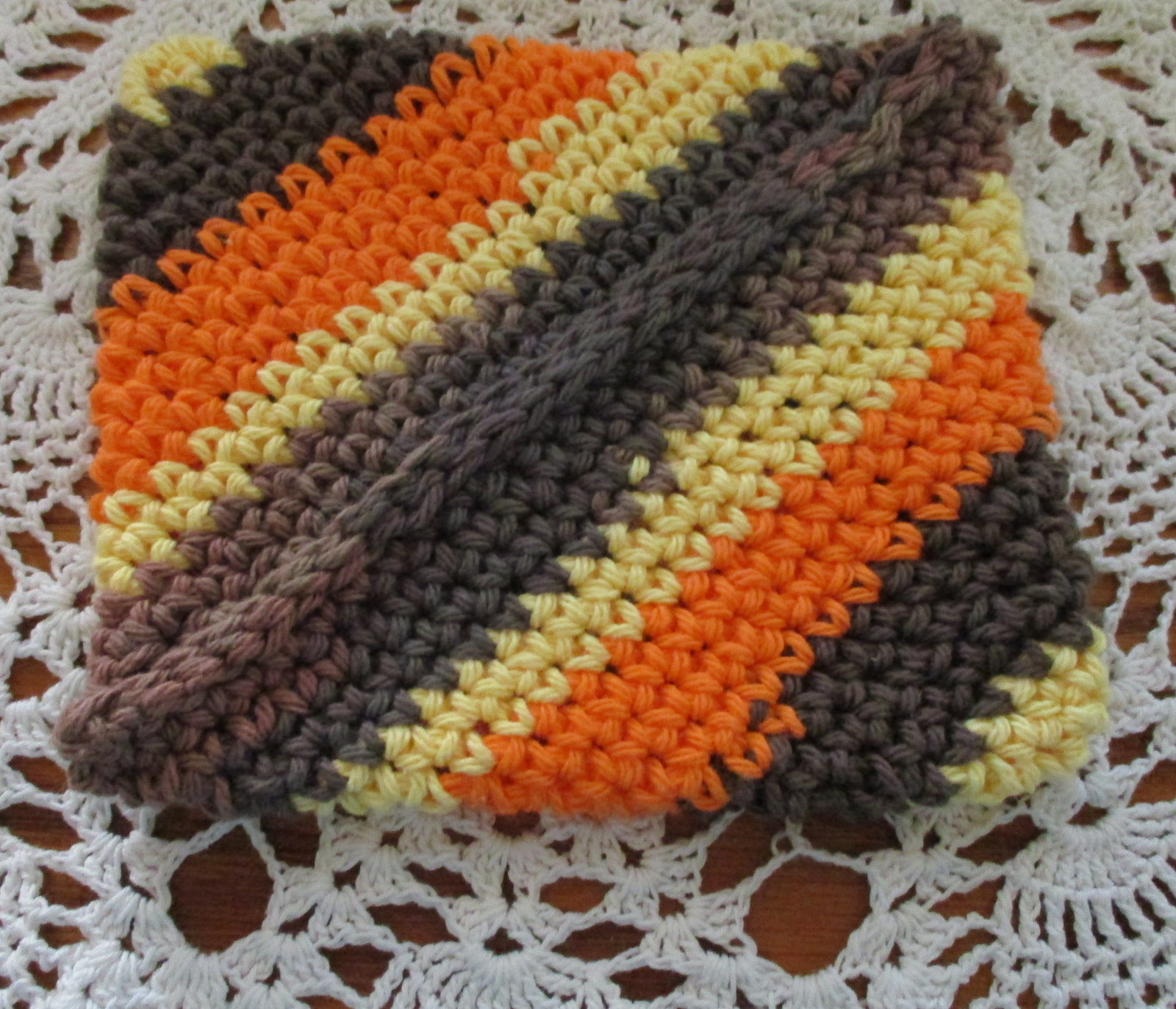 Magic Stripe Potholder Brown Orange Yellow