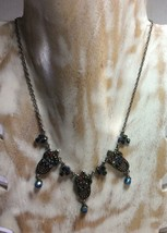 Vintage Dark Metal Color Necklace With Different Colors Stones, Rare Des... - $5.50