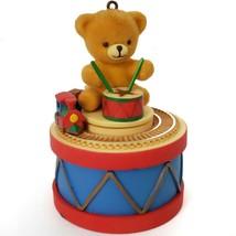 Enesco Teddy On Drum with Train Christmas Ornament Vtg 1983 Model E-0274 - $9.90