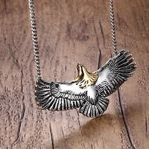 Mens Choker Necklaces Stainless Steel Flying Eagle Hawk Skyhawk Bird Tribal Bike - $16.47