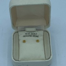 Vtg 1970's 14K Gold Post Genuine Stone Stud Earrings NOS Birthstone Pink - $37.29