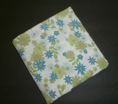 Blue Green Flowers Twin Fitted Sheet Fabric Cutter  - $7.84