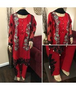 Pakistani Fancy Red Floral Suit, with Thread Embroidery and sequins - $80.00