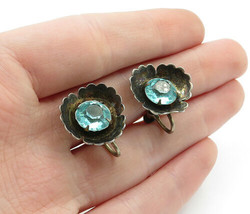 925 Sterling Silver - Vintage Blue Topaz Flower Non Pierce Earrings - E7693 - $26.33